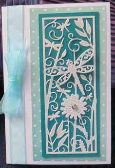 teal and white dragonfly card using Tattered lace panel die