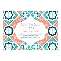 See MoreMexican Tile Coral Pink Navy Teal Save the Date Custom InvitesThis site is will advise you where to buy
