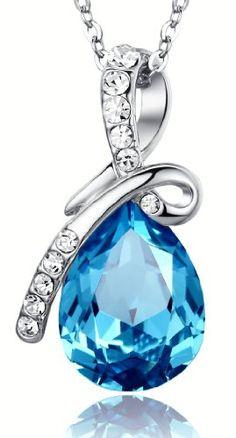 Swarovski Austrian Crystal Elements Eternal Love Teardrop Pendant Necklace - 18 Inch Chain 18k Platinum Electroplate - Blue December Birthstone.