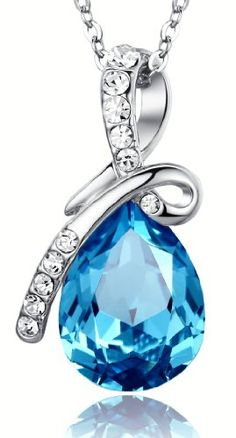 "Eternal Love Teardrop Swarovski Elements Crystal Pendant Necklace - Ocean Blue Large Crystal 17.5"" Chain 2101401 Arco Iris Jewelry...$20.95"