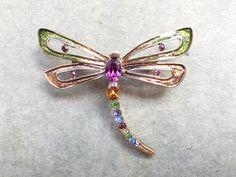 Vintage Signed Monet Dragonfly Brooch figural AB602 by MeyankeeGliterz on Etsy