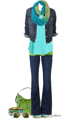 Love this casual turquoise and lime green outfit for Spring.