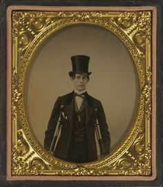 ca. 1859, [ambrotype portrait of George F. Baker Sr. with a top hat and crutches]  via Harvard Business School, Baker Library Historical Collections