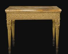 An Italian Neoclassical carved giltwood console table, probably Rome, circa 1780.