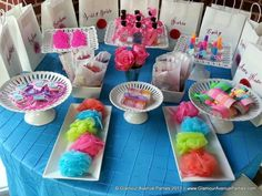 Spa Party Birthday Party Ideas   ..Don't forget personalized napkins for the party! #spa #party www.napkinspersonalized.com