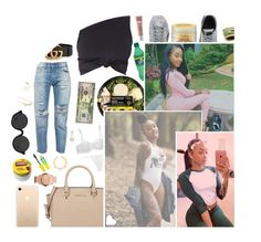 """""""> i've been waiting on you all day baby."""" by redmerced3s ❤ liked on Polyvore featuring Levi's, Hot Topic, Puma, SheaMoisture, Gucci, 3.1 Phillip Lim, Carmex, MICHAEL Michael Kors, Origins and Michael Kors"""