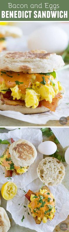 If you are a fan of Eggs Benedict, you will love this easy breakfast sandwich! This Bacon and Eggs Benedict Sandwich with Chipotle Hollandaise will make your taste buds happy.: