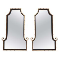 Pair of Faux Bamboo Pagoda Mirrors | From a unique collection of antique and modern wall mirrors at https://www.1stdibs.com/furniture/mirrors/wall-mirrors/