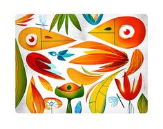 Natural Red. Color birds in a jungle. Illustration art giclée print signed by the artist. 40x50cm. on Etsy, 150,69zł