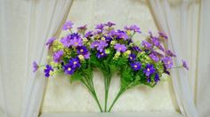 Sweet Home Three 11 Dancing Daisy Silk Artificial Flower Bushes 7stem 28 Flower Heads with No Pot Purple ** Visit the image link more details.