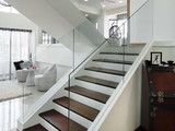 glass banister, dark/light stair