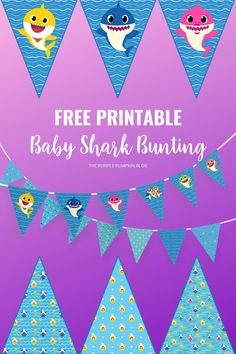 If you're planning a Baby Shark Party then you are going to need this free printable Baby Shark Bunting to decorate the party room! There are lots of fun different designs to choose from, simply print cut and string up the flags! #BabySharkBunting #FreePrintables #ThePurplePumpkinBlog #BabySharkParty Birthday Diy, Boy Birthday Parties, Birthday Ideas, Shark Party Decorations, Baby Shark, Free Baby Stuff, Party Printables, Party Time, Free Printable