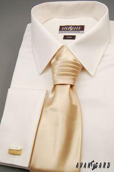 Pánská košile se saténovou regatou a manžetovými knoflíčky  AVANTGARD Tie Clip, Slim, Fashion, Moda, Fashion Styles, Fashion Illustrations, Tie Pin