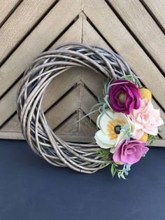 twisted willow and felt flower wreath