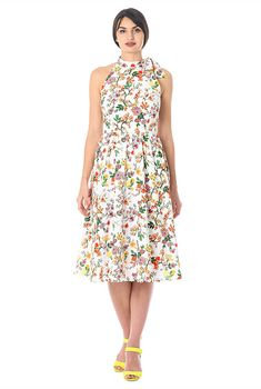 I <3 this Floral print georgette tie neck dress from eShakti