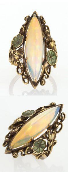 New Jewerly Rings Opal Art Nouveau Ideas Art Nouveau Ring, Art Nouveau Jewelry, Jewelry Art, Jewelry Design, Jewellery, Antique Rings, Antique Jewelry, Vintage Jewelry, Opal Rings