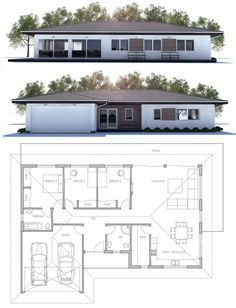 Modern house plan with three bedrooms and two bathrooms. Floor plan from ConceptHome.com