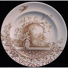 wonderful, peaceful scene on this brown transferware plate Antique Dishes, Vintage Dishes, Antique China, Vintage China, Rustic Plates, Old Plates, Aesthetic Movement, Brown Aesthetic, English Pottery