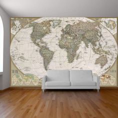 Old World Map Wall Mural World map wall paper mural, self adhesive old style world map. Globe wall decal, photo mural, art decal, ancient world map wall sticker. Wall Mural Decals, Art Mural, Wall Sticker, Wall Vinyl, World Map Mural, World Map Wallpaper, Wall Design, House Design, Photo Mural