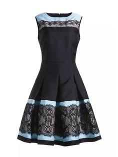 Blue Contrast Black Round Neck Sleeveless Lace Dress-SheIn