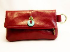 Red Leather Clutch with turquoise stone, fashion clutch, purse, cosmetics case, handmade, soft leather,  three compartments