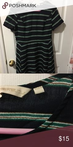 ce8895b949490 Black Green Striped Dress In good condition The length of the skirt is a  little above