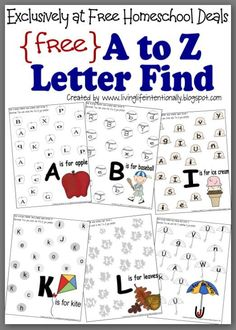 Free A to Z letter find worksheets are perfect to help preschool and kindergarten students practice identifying alphabet letters. Each worksheet has a fun theme that appeals to kids. Preschool Letters, Learning Letters, Preschool Kindergarten, Preschool Learning, Preschool Activities, Kids Learning, Alphabet Letters, Toddler Preschool, Free Preschool