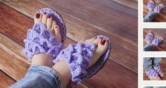 Crochet Pattern: Women's Crocodile Stitch Slippers. We are so excited about our Crocodile Stitch Slippers! Make them for yourself, friends and walk around in comfort--AND STYLE! Cute Crochet, Crochet For Kids, Beautiful Crochet, Crochet Yarn, Ravelry Crochet, Crochet Sandals, Crochet Slippers, Tongs Crochet, Crochet Flip Flops