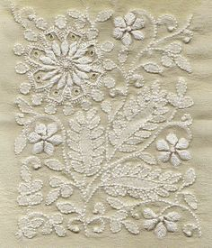 Beautiful floral motif handwork with shadow work of chikankari on georgette <> (embroidery, needlework) Indian Embroidery, White Embroidery, Ribbon Embroidery, Beaded Embroidery, Cross Stitch Embroidery, Embroidery Patterns, Zardosi Embroidery, Folk Embroidery, Vintage Embroidery