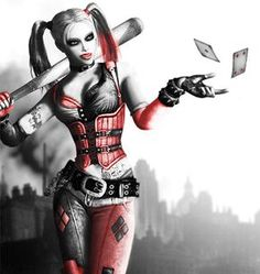 Batman Arkham City's Harley Quinn throwing playing cards