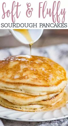 Sourdough Pancakes For the Absolutely Fluffiest Pancakes Ever! This was the best homemade pancakes that I ever made. I started using sourdough starter and I had to use my discard for something. So glad that I found this recipe. Breakfast And Brunch, Breakfast Recipes, Breakfast Ideas, Breakfast Casserole, Pancake Recipes, Keto Recipes, Breakfast Gravy, Breakfast Cereal, Skillet Recipes