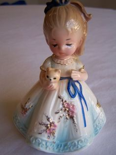 Josef Originals Figurine, Girl With Kitten, Blonde Hair, Blue Dress