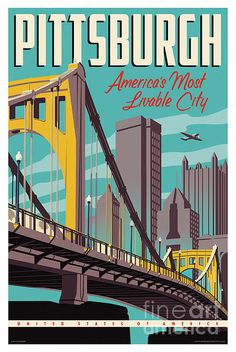 Vintage Style Pittsburgh Travel Poster 13x19, Red Robot Design & Illustration