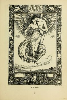 "Lovely art nouveau book plates. From the book, ""Book-plates of to-day (1902)."""