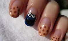 Cookie Monster Nail...I think I could do this! So adorable...this girl is amazing!