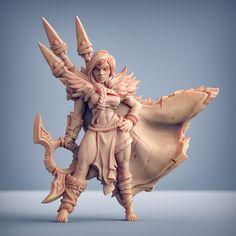 3D Printable Xenia - Hunter Heroine (AMAZONS! Kickstarter) by Artisan Guild Lion Sculpture, Artisan, Printables, Amazons, Statue, Miniatures, Models, 3d, Games
