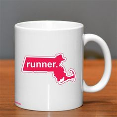 Massachusetts Runner Ceramic Mug - Show off your pride for Massachusetts with this great Massachusetts Runner Ceramic Coffee Mug.