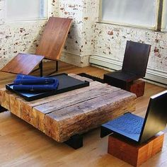 Reclaimed hardwood beams are repurposed to create a coffee table. Cool Coffee Tables, Coffe Table, Wood Furniture, Furniture Design, Modern Table, Furniture Inspiration, Wood Table, Patio Table, Home And Living