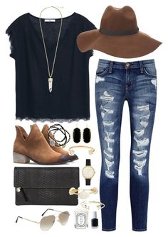 """Black lace tee & floppy hat"" by classycathleen ❤ liked on Polyvore featuring MANGO, Current/Elliott, Charlotte Russe, Kendra Scott, Lizzie Fortunato, Feather & Stone, Clare V., Olivia Burton, Bourbon and Boweties and Diptyque"