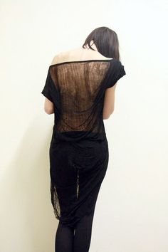 shredded shirt black black basic back, by commeonveut