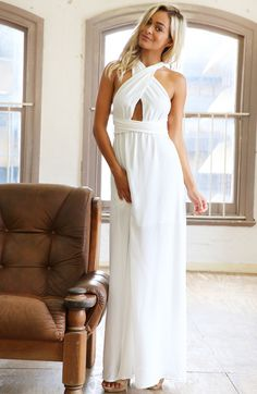 Shop White Cross Halter Backless Maxi Dress online. Sheinside offers White Cross Halter Backless Maxi Dress & more to fit your fashionable needs. Free Shipping Worldwide!