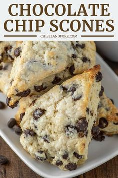 Easy Chocolate Chip Scones Recipe - Chisel & Fork - - These easy chocolate chip scones are the British version of a biscuit, making them slightly sweet and buttery with a crumbly edge. Baking Recipes, Cookie Recipes, Dessert Recipes, Yummy Treats, Yummy Food, Yummy Snacks, Tasty, Homemade Scones, Homemade Breads