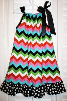 Pillowcase+Dress+Multicolored+Chevron++Dress++by+JellyPopChick,+$19.99