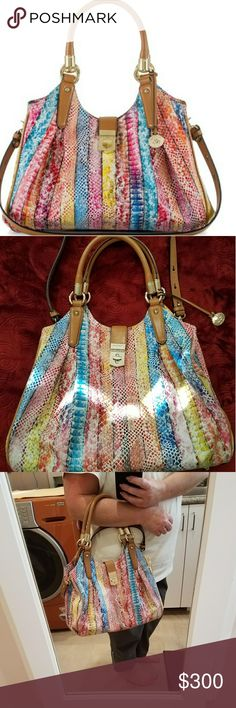 """Brahmin ~""""Elisa"""" Coronado Python Print Leather Bag NWOT,  RePosh.   Leather hobo-style handbag featuring double handles (8.5"""" Drop) and a top Turnlock closure.  Detachable & adjustable shoulder strap.  Goldtone hardware including protective bottom feet.  Center zip divider with 1 interior zip pocket and 2 organizer pockets.  Also; zip jewelry pocket, pen pocket & key clip with jacquard striped interior lining.  *Please note the last photo of the bottom of this handbag; minor scuff.  Does not…"""