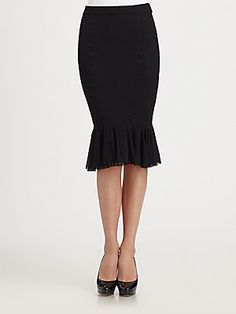 Jean Paul Gaultier Tulle-Tiered Stretch Jersey Pencil Skirt