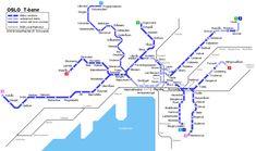 Oslo T-bane map © UrbanRail.Net