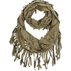 Beige Faux Suede Bohemian Fringe Infinity Scarf ($25) ❤ liked on Polyvore featuring accessories, scarves, beige, lightweight, fringed shawls, long infinity scarf, loop scarf, floral infinity scarves and floral infinity scarf