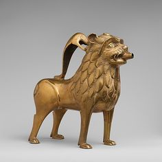 Aquamanile in the Form of a Lion Date: ca. 1200 Culture: North German Medium: Copper alloy with inlaid glass