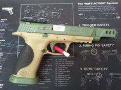 Bi Tone in Multi Dark Green and Desert Mirage Lizard - S M 9mm Pistol - www.tzarmory.com