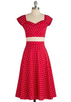 Pin-Up to Par Dress by Stop Staring! - Red, White, Polka Dots, Party, Rockabilly, Vintage Inspired, 50s, A-line, Cap Sleeves, Long